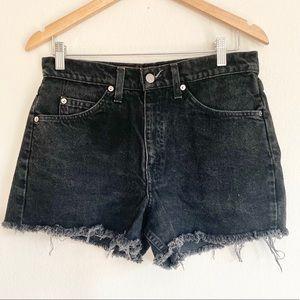 Vintage Orange Tab Levi 550 Black Cutoff Shorts